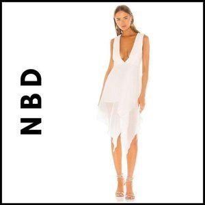 NWT NBD Lexi Ivory VNeck Midi Dress, XS